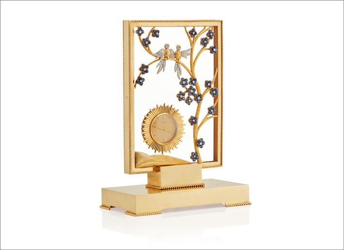 Orologio da tavolo appartenuto a Jackie Kennedy Onassis in oro, diamanti e rubini, Van Cleef & Arpels
