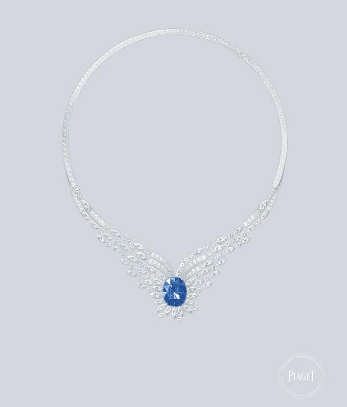 Collana in oro bianco 18 carati con 1 zaffiro blu a taglio ovale dello Sri Lanka (circa 22,68 ct) e diamanti