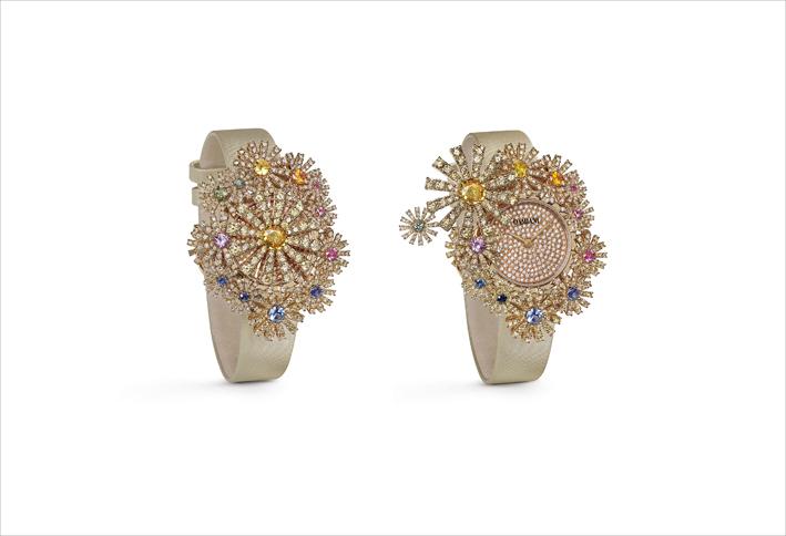 Secret watch in oro rosa, zaffiri multicolori e diamanti brown
