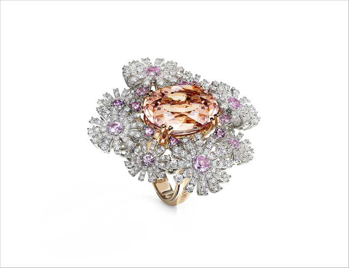 Damiani, anello in oro, zaffiri rosa, diamanti e morganite