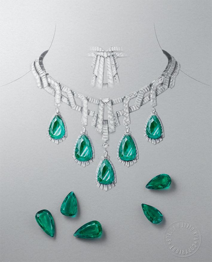 Collana e orecchini Merveille d'Оmeraudes, gouache