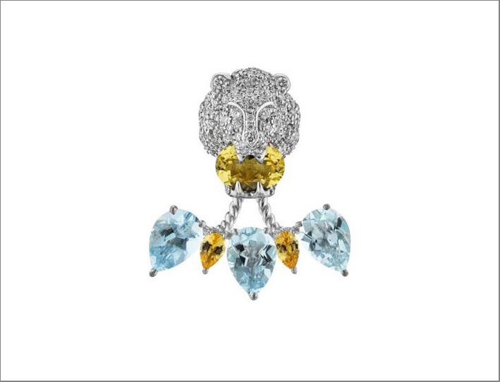 Pendente in oro bianco con acquamarina, citrini e diamanti