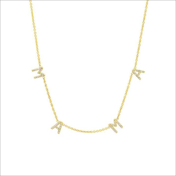Collana in oro 14 carati e diamanti