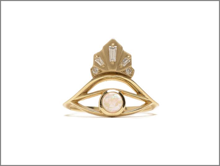 Anello Nomad con diamanti e opale