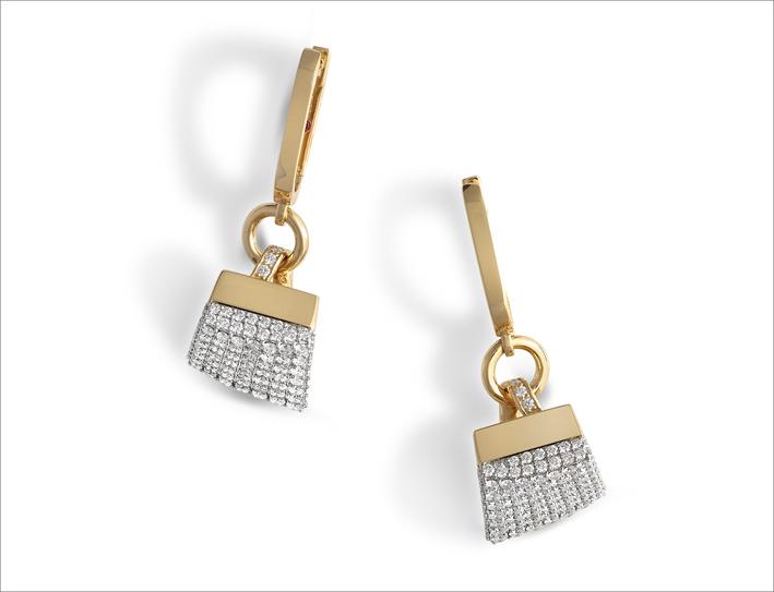 Rose gold charm earrings with diamond pavé