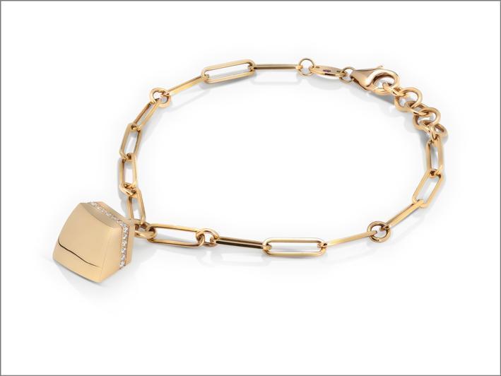 Rose gold charm bracelet with diamonds