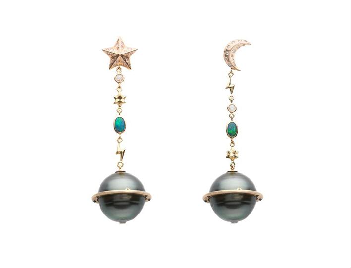 Orecchini in oro rosa 18 carati, diamanti bianchi, -opale e perla di Tahiti