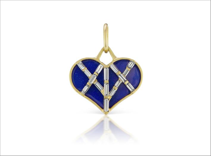 Pendente per collana con diamanti baguette su oro e smalto blu