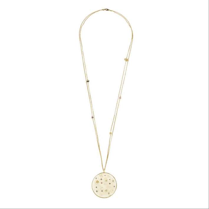Supermoon: oro giallo 18 carati, zanna di mammut, zaffiri rosa, ametista, Opali, diamanti, perla