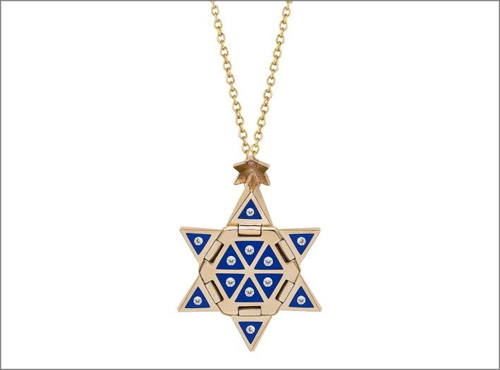 Collana in oro, diamanti e inserti di ceramica blu