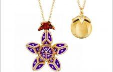 Collana in oro, diamanti e inserti di ceramica viola