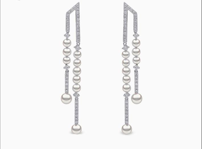 Orecchini pendenti in oro bianco, diamanti e perle Akoya
