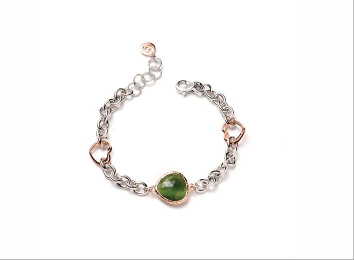 Bracciale in ottone rodiato e placcato oro rose 24 carati con cristallo verde