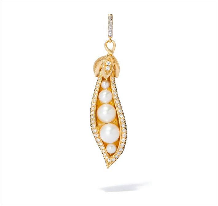 Ciondolo baccello di piselli con tsavorite, perle e oro