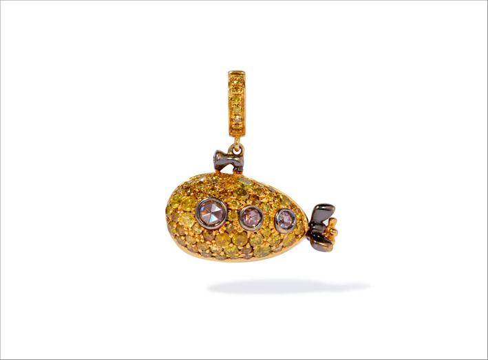 Ciondolo Sottomarino giallo in oro e diamanti