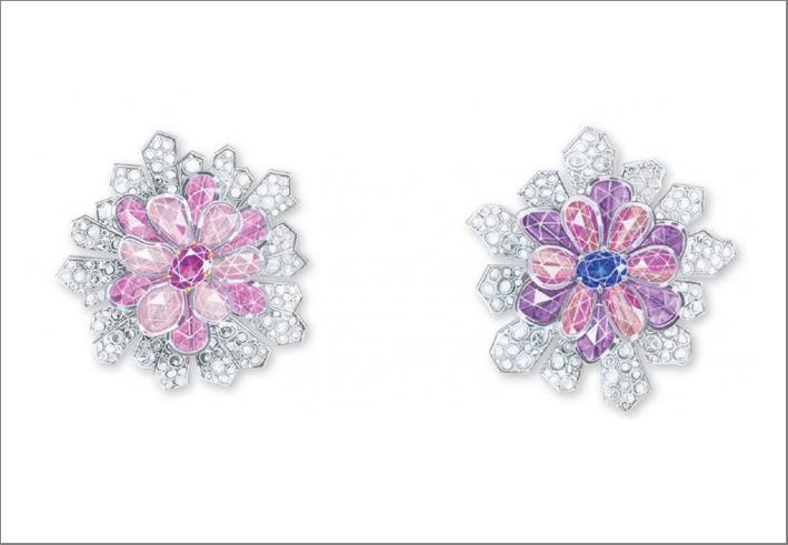 Clip con diamanti e zaffiri rosa