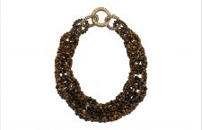 Collana Tiger Eye color marrone, chiusura in ottone