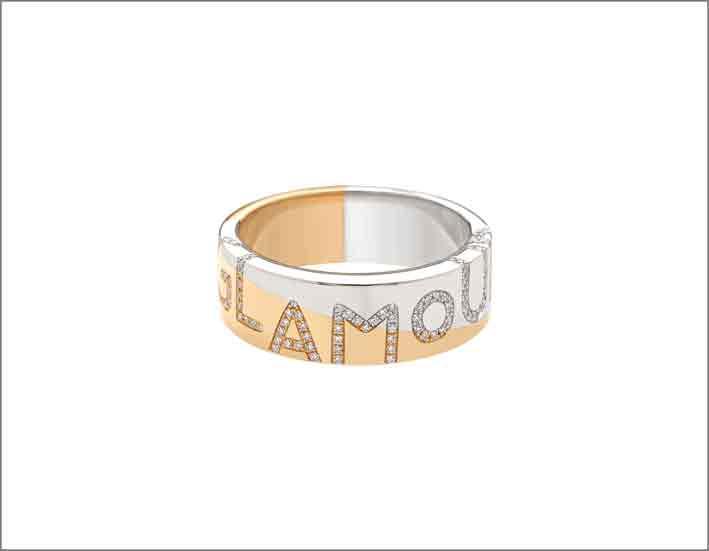 Anello Glamour in oro rosa e bianco con diamanti
