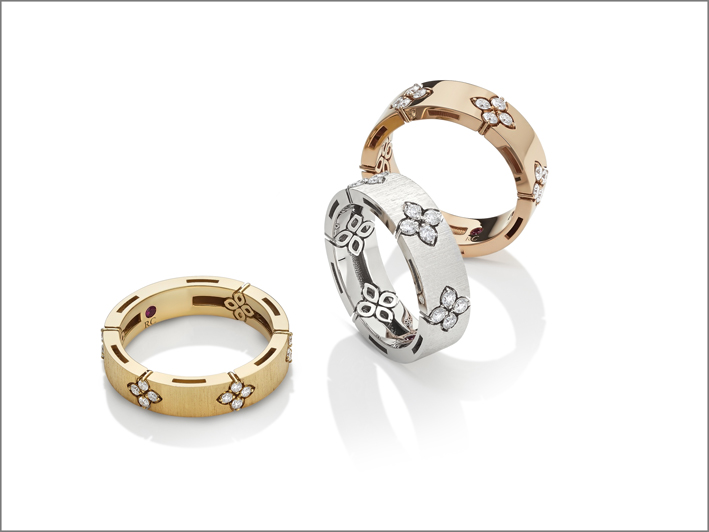 Yellow, white and rose gold rings with diamonds