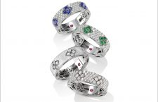 Satin finish and full pavé rings in white gold with blue sapphires, emeralds and diamonds