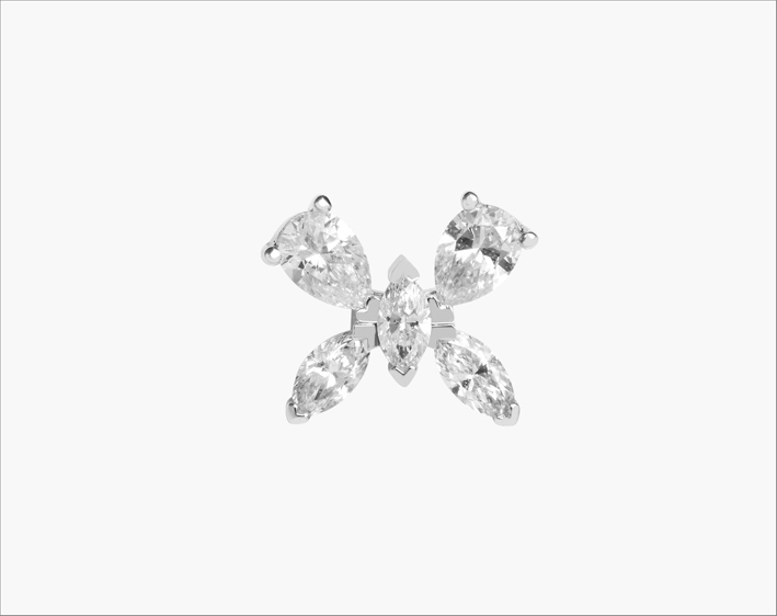 Piercing a forma di farfalla con diamanti a taglio marquise e pera