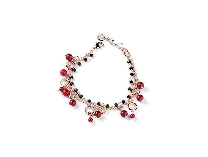 Bracciale in ottone rodiato e placcato oro rose 24 carati con giada, rubeite e rosario nero