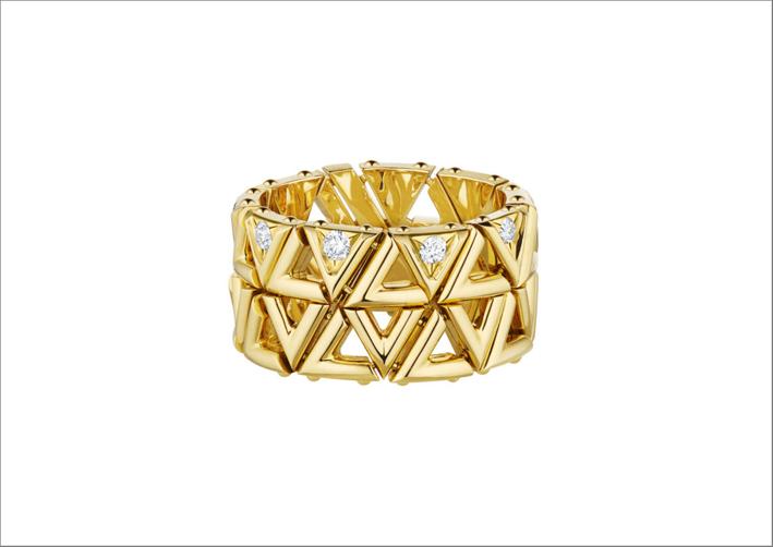 Anello in oro giallo e diamanti