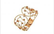 Bracciale della collezione Waves in oro rosa, diamanti e zaffiri orange