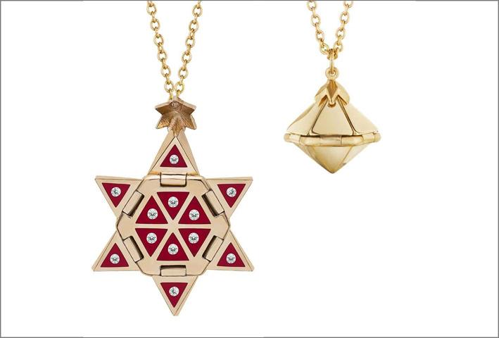 Collana in oro, diamanti e inserti di ceramica rossa