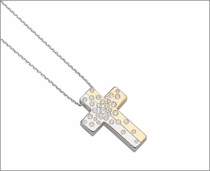 Collana croce in oro bianco e giallo