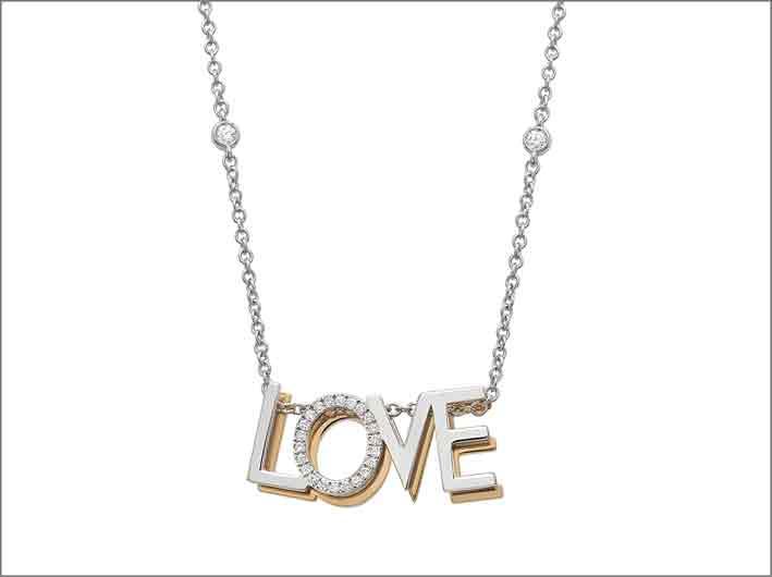 Collana Love in oro bianco e giallo, con diamanti
