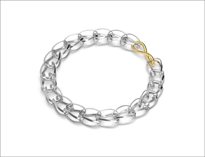 Bracciale in argento con dettaglio in oro