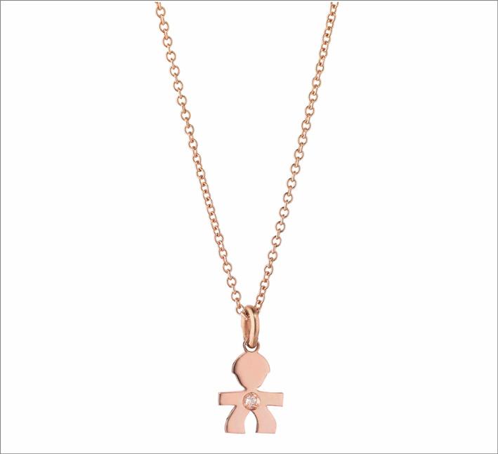 Collana con ciondolo in oro rosa
