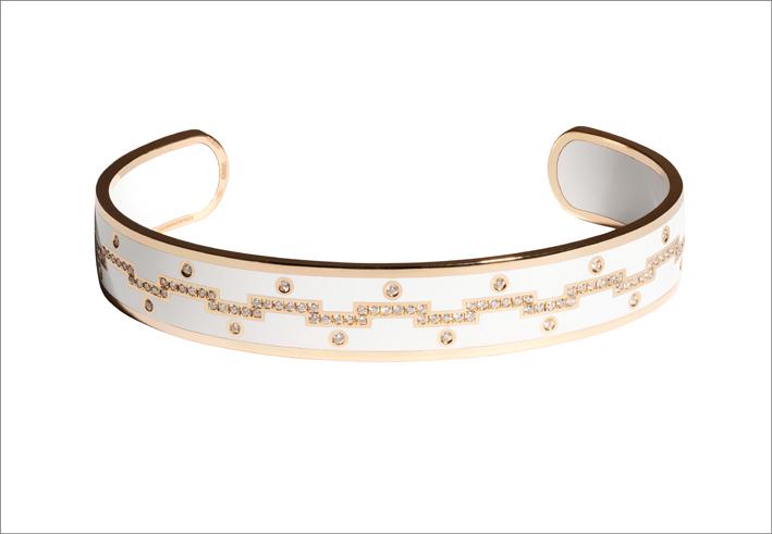 Bracciale in oro rosa, diamanti e ceramica bianca