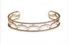 Collezione Dedalo, bracciale in oro rosa, diamanti e ceramica bianca