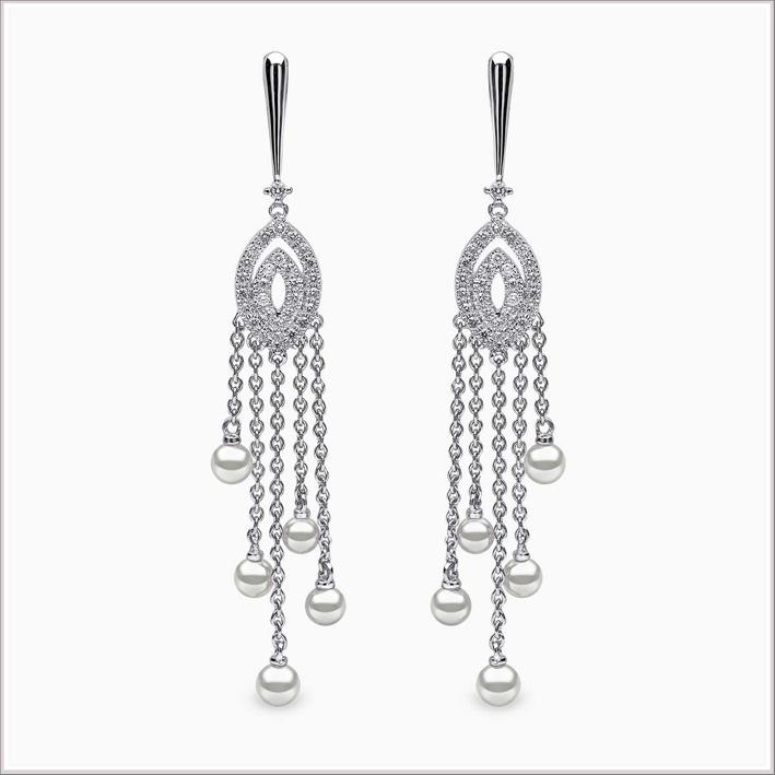 Orecchini chandelier in oro bianco, diamanti e perle Akoya