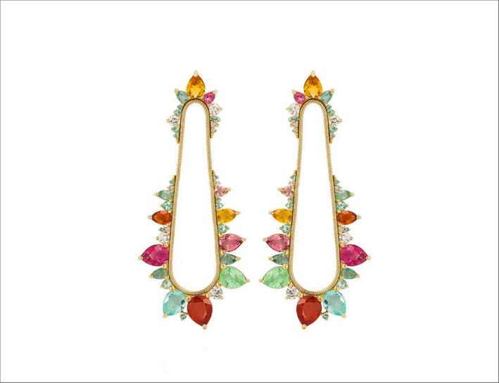 Orecchini Elettroshock con oro giallo, diamanti, tormalina paraiba e rosa, zaffiri gialli e orange