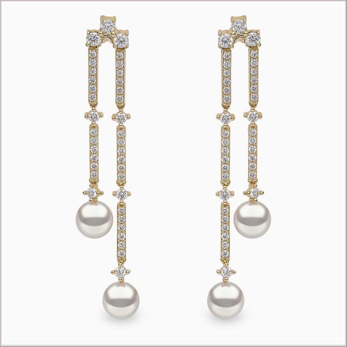 Orecchini art déco in oro bianco, diamanti e perle Akoya