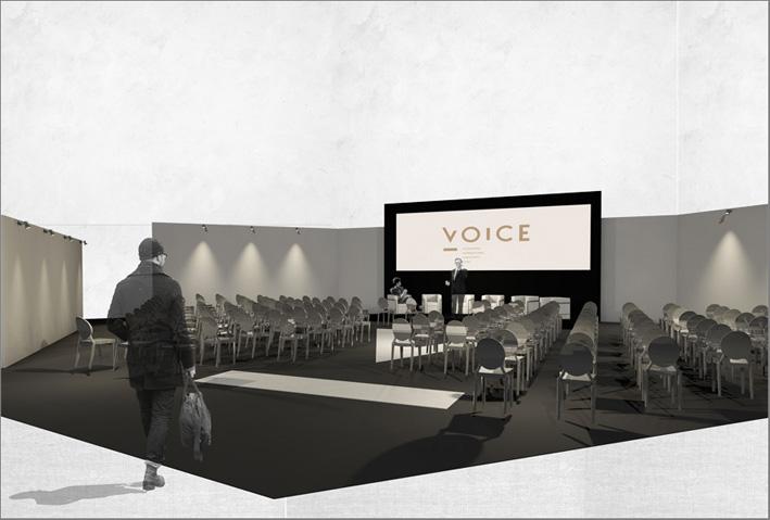 Rendering di un'area destinata ai talk show a Voice Vicenzaoro