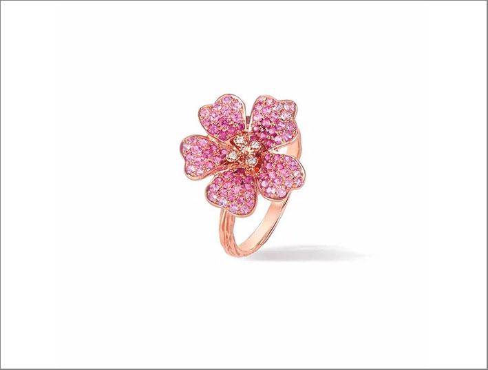 Anello in oro rosa 9 carati e zaffiri rosa