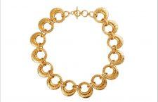 Collana con cerchi in ottone placcato oro
