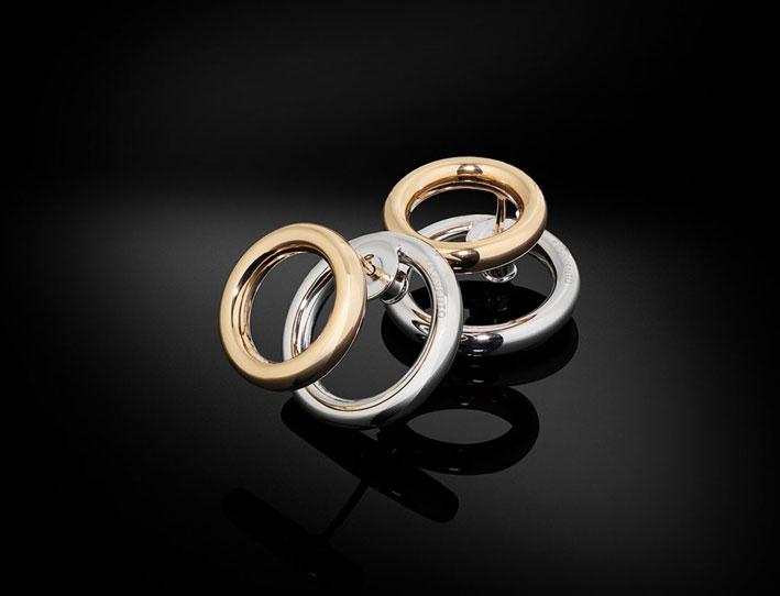 Orecchini in argento rodiato della collezione Double Your Charme