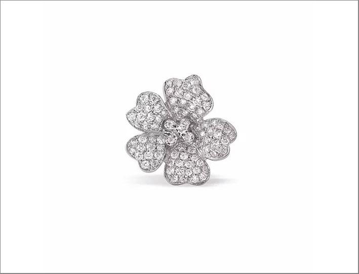 Orecchino Cherry Blossoms in oro bianco 9 carati con diamanti