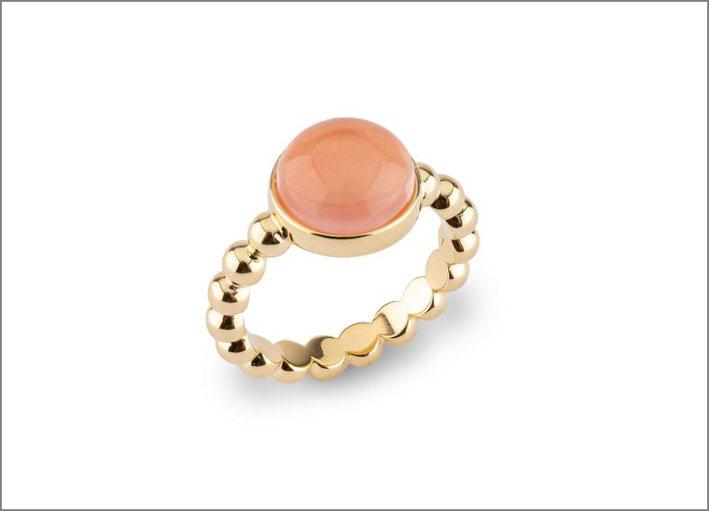 Anello in argento placcato oro e quarzo rosa