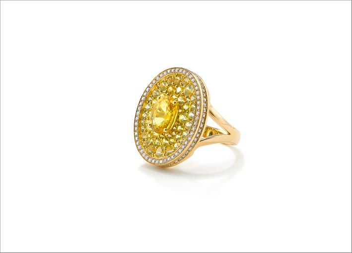 Anello Asteroid in oro giallo con zaffiri gialli e diamanti