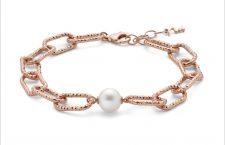 Bracciale in argento placcato oro rosa con perla coltivata della collezione Miss Italia 2020
