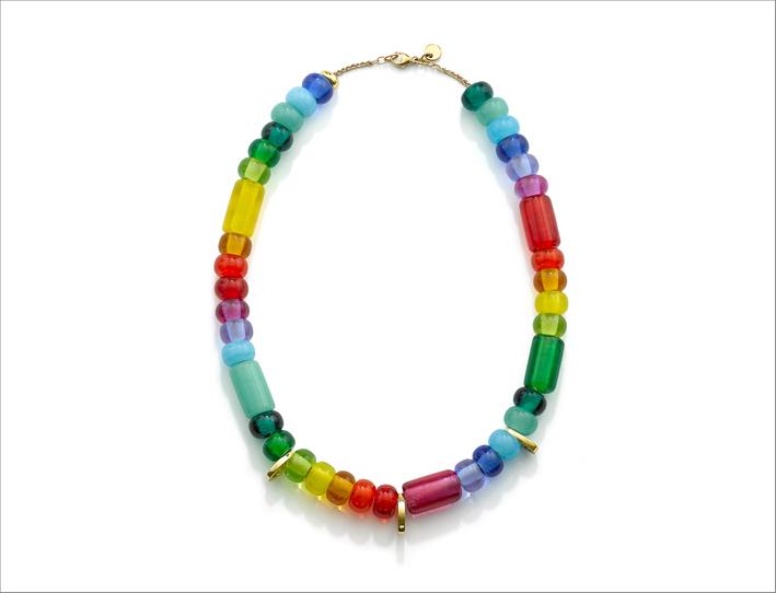 Collana Arcadia formata da perle di vetro su catena in oro giallo 9 carati. Costa circa mille sterline