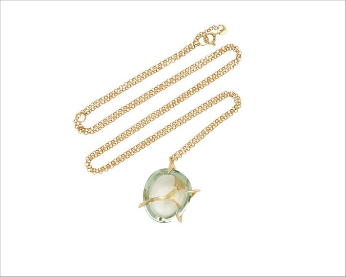 Collana in oro 18 carati con quarzo Envolto piccolo