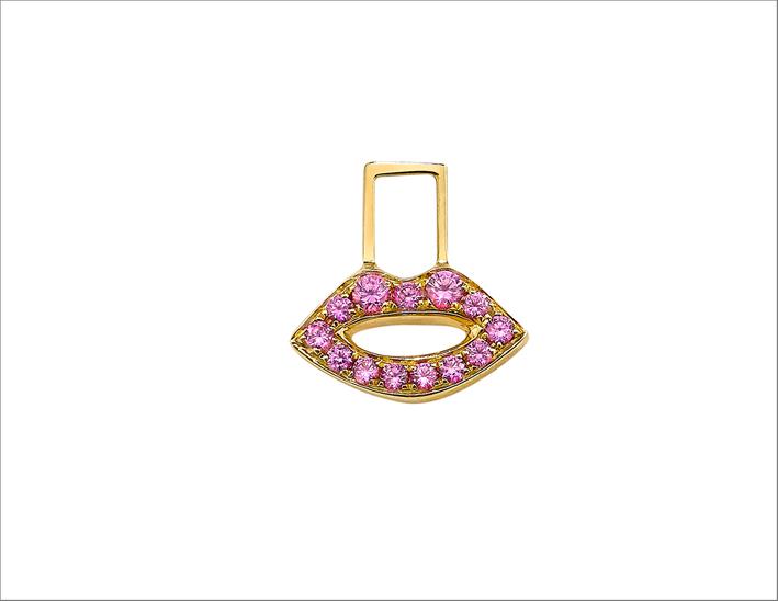 Orecchino Lips in oro giallo 14 carati e oro rosa