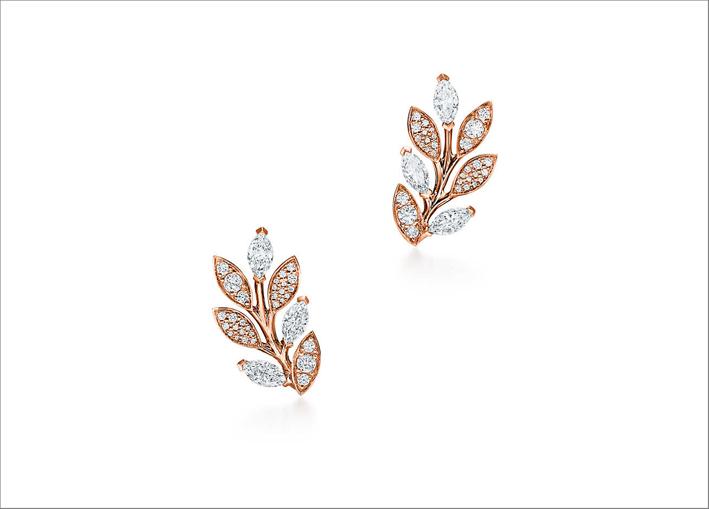 Orecchini in oro rosa e bianco con diamanti